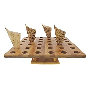 BambooMN 13  x 13  Natural Bamboo Square Food Cone Display Tamaki Stand for Restaurants Catered Events Party or Buffets Holds up to 36 Cones