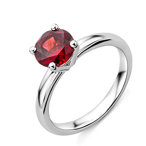Engagement Ring Solitaire White Gold 9 Carats Garnet T54-M9057R4