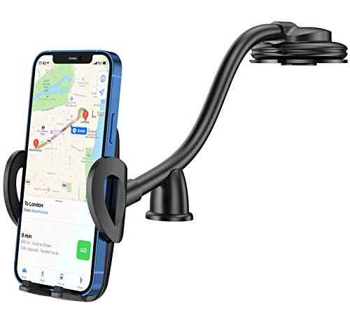 CTYBB Car Phone Holder Mount, Long Arm Dashboard Windshield Phone Holder for Car, with Strong Suction Cup and Anti-Shake Stabilizer Compatible with iPhone 12 11 Pro/11 Pro Max/XS, Galaxy S10/S10e