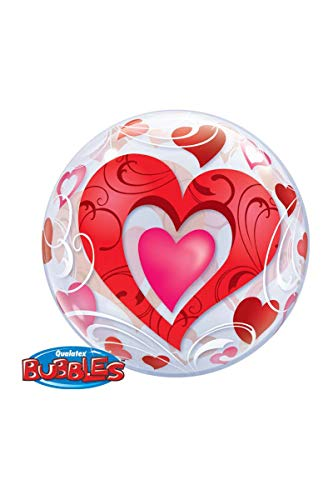 Qualatex 33909 rode harten en filigraan Single Bubble Latex Ballon, 22