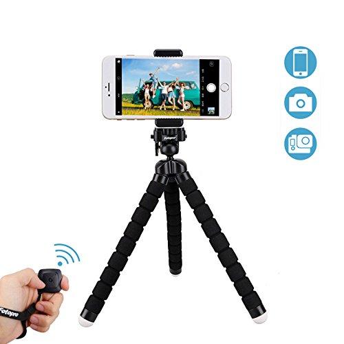 Fotopro Handy Stativ Flexibel Smartphone Stativ Kamera Stativ mit Bluetooth Fernsteuerung, Mini iPhone Stativ für Smartphone iPad Kamera Gopro Selfie Stick Stativ