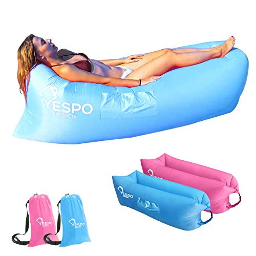 YespoProducts, Sofa Hinchable con Bolso portátil, Tumbona Hinchable de Playa, Sofa Hinchable Camping, Hamaca Hinchable,Tumbona Playa Plegable Ligera, Sofa Inflable con Bolso portatil. (Azul)