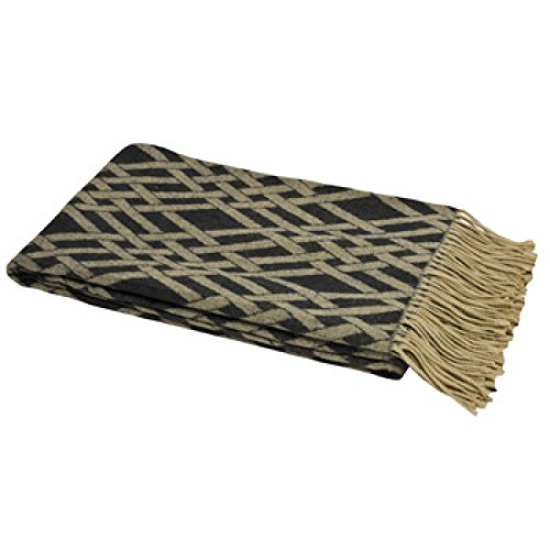 Riva Paoletti Madison Throw - Noir / Taupe Brown - Géométrique Criss Cross Weave Design - Twisted Fringe Edges - Résistant À La Décoloration - 100% Acrylique - 140 X 200 Cm (55\