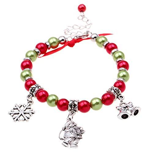 Kuizhiren1 Weihnachtsschmuck, Dekoration, Geschenk, Weihnachten, Unisex, Weihnachtsmann, Schneeflocke, baumelnd, Charm-Armband