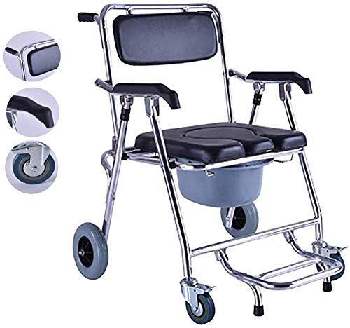 N/Z Home Furnishings Portable Mobile Wheelchair Commode Chair Folding Bathroom Shower Stool with Padded Toilet Seat for Person ped 94