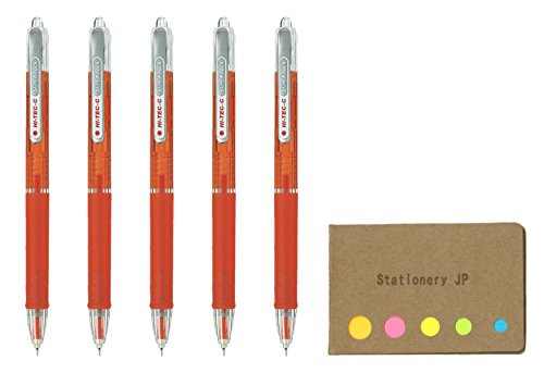 Pilot Hi-Tec-C SlimKnock 04 Retractable Gel Ink Pen, Ultra Fine Point 0.4mm, Red Ink, 5-Pack, Sticky Notes Value Set
