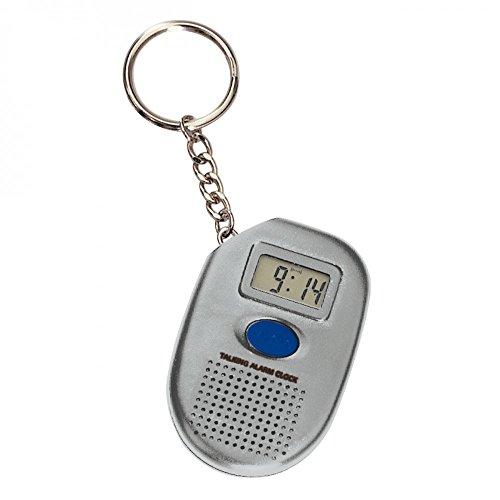 Atlanta 8864 Sprekende sleutelhanger kwarts, met klok, wekfunctie met kraanschrijving, Anzage: Tijd zilver