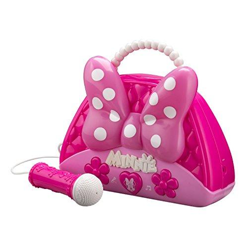 EKids Disney Minnie Mouse Boombox mit funktionierendem Mikrofon und leuchtender Schleife in Pink für Mädchen