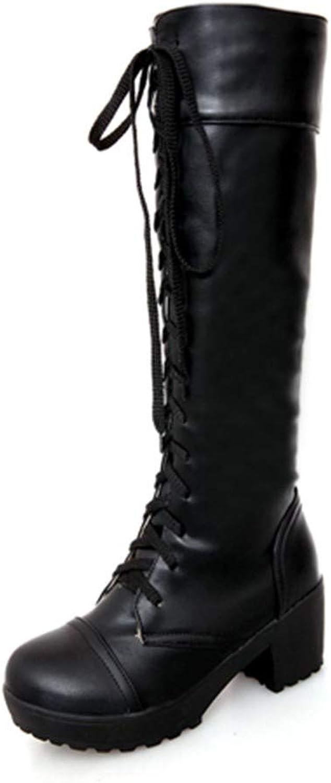 NAFTY Damenschuhe Stiefel Lace Lace Lace Up Kniehohe Stiefel Frauen Herbst Weichem Leder Weißes Quadrat Ferse Frau Schuhe Winter Heißer  c35f19