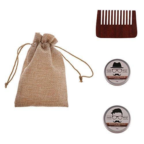 yotijar 3 en 1 Acondicionador Natural Bálsamo para Barba Bigote Cera para Hombres Kit de Bolsa