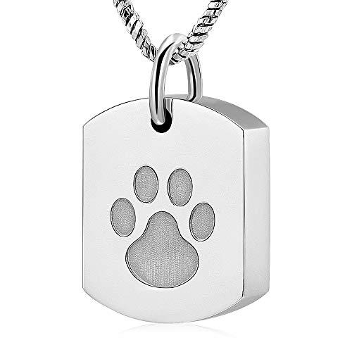 PHLPS Titan Stahl Kette ist farb, hypoallergen, Pfötchen Tag, Haustier Urn-Anhänger, Wasserdicht, robust Material erlaubt Ihr Haustier Immer Sie Begleitet