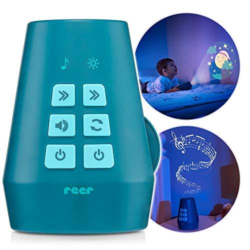 Reer DreamBeam Nachtlicht, Motiv-Projektor mit 24 verschiedenen Bildern, zaubert Traumlandschaften an Decke und Wand, petrol