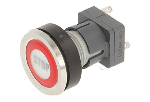 Schlegel 23.001.035 Folientaste Edelstahl, Frontring rot, Beschriftung Stop, beleuchtbarer Tastkontaktgeber 1 Wechsler, 24V LED