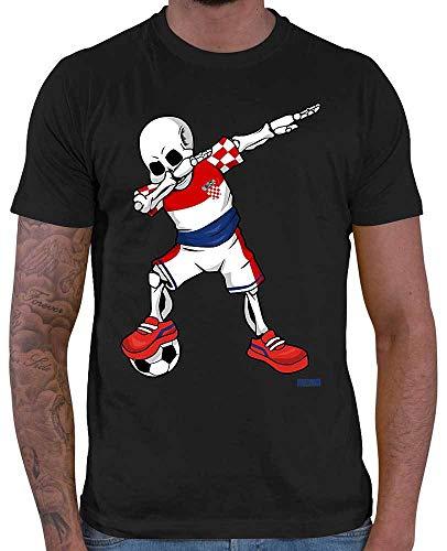 HARIZ Herren T-Shirt Fussball Dab Skelett Kroatien Land Trikot Plus Geschenkarte Schwarz L