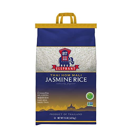 817 Elephant Jasmine Rice White Thai Hom Mali, 15 Lb. Bag