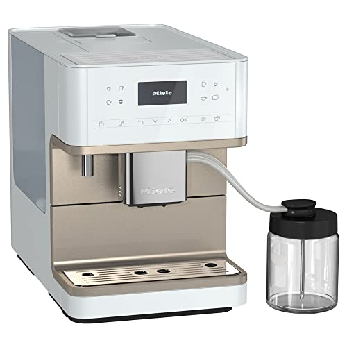 NEW Miele CM 6360 MilkPerfection Automatic Wifi Coffee Maker & Espresso Machine Combo, Lotus White & Clean Steel Metallic - Grinder, Milk Frother, Cup Warmer, Glass Milk Container