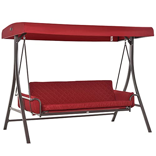 Outsunny 3 Person Patio Swing Chair Bench Outdoor Convertible Hammock Bed with Adjustable Canopy, Cushion, Pillows for Porch, Backyard, Garden, Red