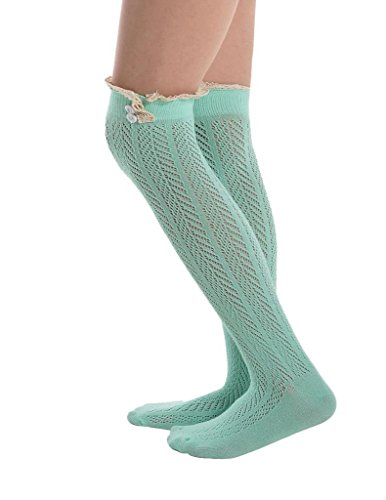 Kathlena Knee High Button Mesh Lace Trim Footed Leg Warmers Boot Socks(FBA)