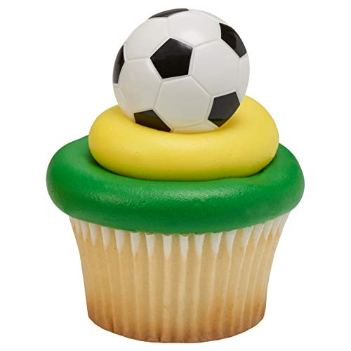 Soccer Ball Cupcake Rings - 24 pc