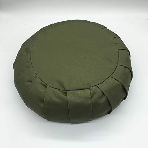 H&RB Round zafu yoga pillow buckwheat meditation cushion,Floor seat, Zippered Organic Cotton Cover, Natural Buckwheat, Kneeling Pillow,Green,35 * 35 * 13cm