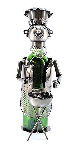 Metal Bottle Wine Holder Ornament Decor Kitchen Gift Novelty Rack Stand Fun New (BBQ Chef)