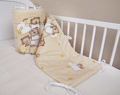 Bettumrandung Nest Kopfschutz Nestchen 420x30cm, 360x30cm, 180x30 cm Bettnestchen Baby Kantenschutz Bettausstattung Bär auf der Leiter ecru (420x30cm)