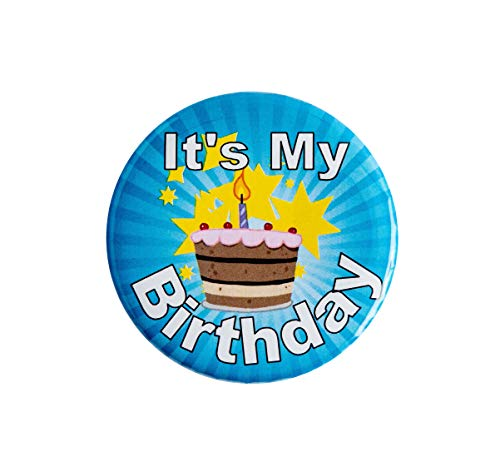It's My Birthday Button (Blue 2 1/4') It's My Birthday Happy Button - Party Birthday Pins for Adults, Kids, Men or Women - Birthday Badges - by Secure ID, LLC (Blue, Pink)
