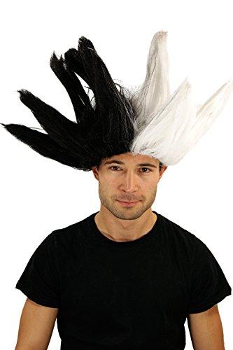 WIG ME UP Perruque noire/blance style sorcière/magicienne, dalmatien, idéal pour Carnaval.