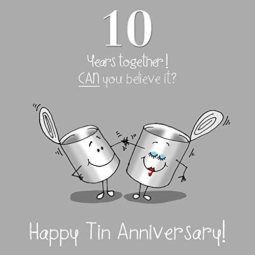 Fax Potato 10th Wedding Anniversary Greetings Card - Tin Anniversary