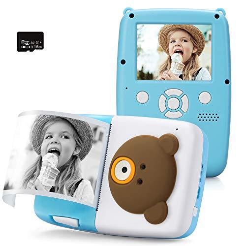 PELLOR Cámara Instantánea para Niños con Tarjeta de Memoria de Papel Térmico de 3 Rollos Cámara Digital de 16GB Autofocus