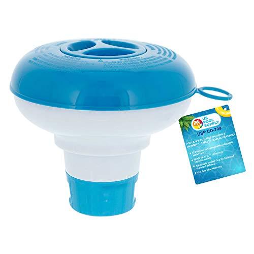 U.S. Pool Supply Pool & Spa Floating Chlorine & Bromine 1' Tablet Chemical Dispenser, 5' Diameter, Collapsible Floater