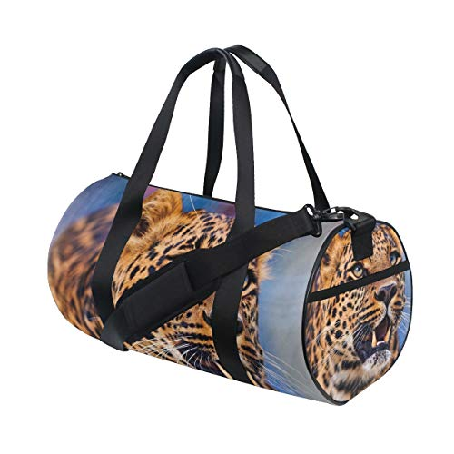 AJINGA Yellow Black Cheetah Travel Duffle Bag Sports Luggage with Backpack Straps for Gym