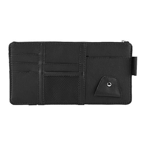 Qii lu auto zon vizier kaart Bill slanke portemonnee, PU leer multifunctionele minimalistische kaart beschermer zwart