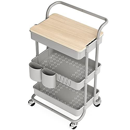 3 Tier Rolling Cart with Table Top, Rolling Storage Cart with Handles and Locking Wheels, Utility Cart with 2 Small Baskets and 4 Hooks for Bathroom. Office, Balcony, Living Room (Grey)