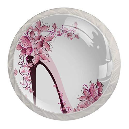 Tirador de manijas de cajón para el hogar, cocina, tocador, armario,Zapatos rosas