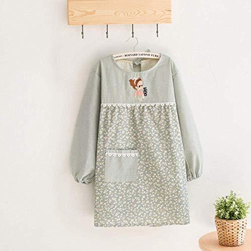 AMITD Kookschort voor dames, keuken, café, restaurant, grill, bakken, schone blouses, schorten, volwassenen met lange mouwen, schorten, verstelbare schorten-oranje Hellgrün lichtgroen