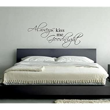 Imprinted Designs Always Kiss Me Goodnight Vinyl Wall Decal (36  X 18 )
