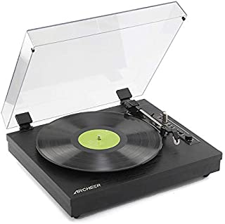 Archeer Vintage Bluetooth Vinyl Turntable Record Player with Built-in Stereo Speaker, 3-Speed Belt Drive, Vinyl-to-MP3 Recording, RCA Output, Big Size - Black