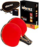 Idoraz Table Tennis Paddles Set of 2 Professional Rackets - Ping Pong Rackets with Carrying Case – ITTF Approved Rubber for Tournament Play