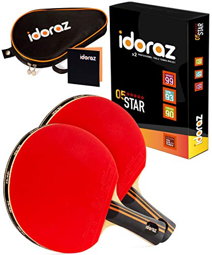 Idoraz Table Tennis Paddles Set of 2 Professional Rackets  Ping Pong Rackets with Carrying Case – ITTF Approved Rubber for Tournament Play
