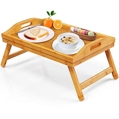 FURNINXS Bamboo Bed Tray Table for Eating Breakfast Tray for Bed Foldable Wood Serving Tray with Legs for Home, Bedroom, Hospital