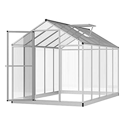 Outsunny Stable Outdoor Walk-in Garden Greenhouse with Roof Vent and Rain Gutter for Plants, Herbs, and Vegetables, 10' L x 6.25' W