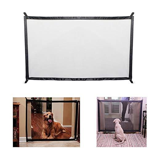 DYS@ Cancello Magico per Cani, Portatile Pieghevole Dog barriera di Sicurezza, Cancello a Rete Retrattile, Cancelletto di Sicurezza per Porte, Scale, Corridoi,110 * 72cm