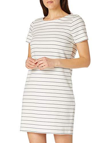 VILA CLOTHES Damen VITINNY NEW S/S DRESS - NOOS Kleid, Mehrfarbig (Snow White Stripes: Total Eclipse Version 1), 38 (Herstellergröße: M)