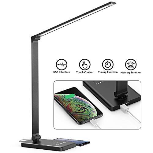 Schreibtischlampe, LED Schreibtischlampe Dimmbar Mit USB, Schwenkbar LED Tischlampe Bürolampe, 5 Farb- und 10 Helligkeitsstufen, Touch-Bedienung, faltbar, Tischleuchte für Büro und Haus (schwarz)