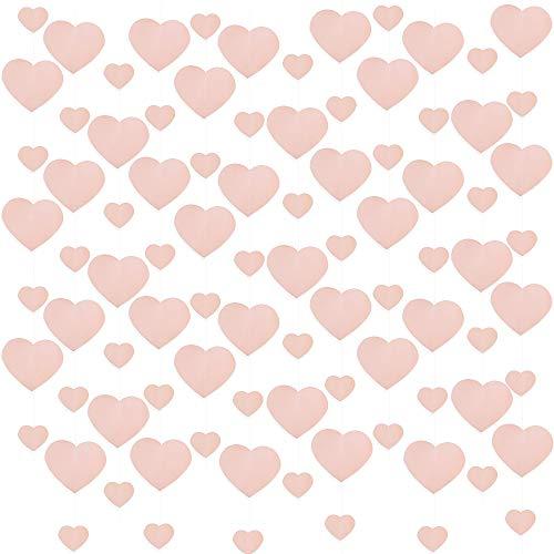 VINFUTUR 6×2 Meter Herz Girlande Herz Hängende String Funkeln Herz-förmige Banner Papier Hängende Deko für Valentinstag Hochzeit Jahrestag Brautdusche Geburtstag Heiratsantrag Party Baby Shower