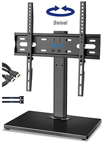 Rentliv Universal TV Ständer/Standfuß - Schwenkbar Tischplatte TV Stand mit Halterung für 32-55 Zoll Fernseher, höhenverstellbar TV Standfuss Ersatz, Strapazierfähig fernseh Holzständer