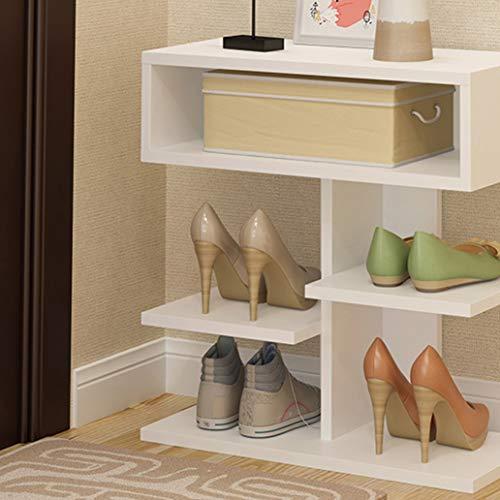 ZYFA Schoenenrek met 3 vakken, schoenenkast staand rek keukenrek woonkamerrek, 40 x 24 x 46 cm (wit)