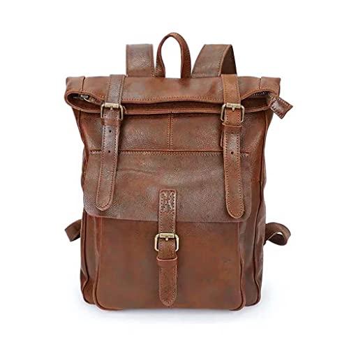 WQXD Unisexo PU Mochila de Cuero Bolso de Laptop de 14 Pulgadas Bolso de Bolso Bolso Bolso Grande Capacidad Rucksack Mochila Casual Travel School College Daypack (Color : Brown, tamaño : One Size)