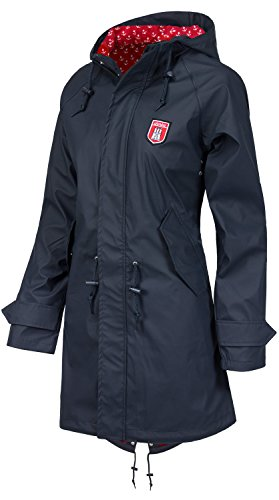 Derbe Travel Friese Anchor Damen Jacke Regenjacke /Navy/red, Size:l